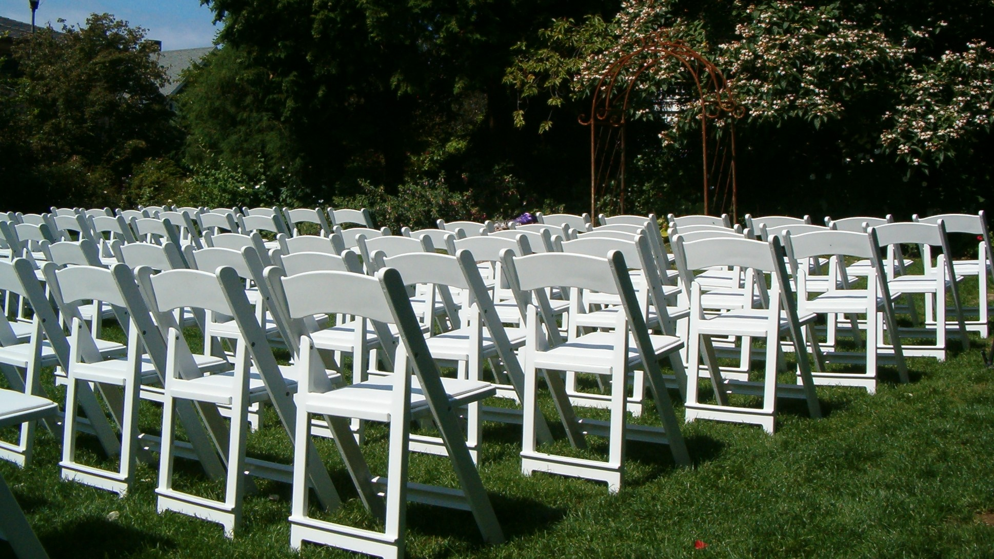 Chairs set up on grass